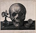 A skull with a timepiece and flowers Etching by William Fait Wellcome V0042117.jpg