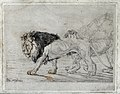 A walking lion and lioness. Etching by J F Lewis, 1824, afte Wellcome V0021512.jpg