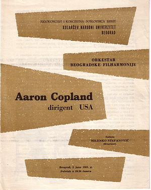 Clarinet Concerto (Copland) - Copland Clarinet Concerto performed in Belgrade, Yugoslavia, on June 2, 1961, by Milenko Stefanović and Belgrade Philharmonic Orchestra, conducted by Aaron Copland