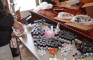 "Ergogenic use of anabolic steroids - A large stash of anabolic steroid vials confiscated during ""Operation Gear Grinder"" undertaken by the Drug Enforcement Administration which ended in September 2007."