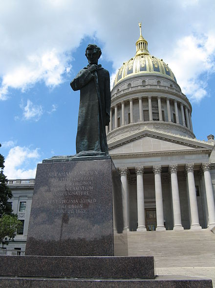 Abraham Lincoln Walks at Midnight, a statue on the grounds of the West Virginia State Capitol Abraham Lincoln - WV Statue.jpg
