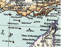 Abu Musa and Greater and Lesser Tunbs in Iran and Turan Map by Adolf Stieler map 1891.JPG