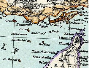 Greater and Lesser Tunbs - A map by Adolf Stieler showing Abu Musa and Greater and Lesser Tunbs as part of Iran.
