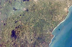 Satellite Imagery of the City of Accra from the International Space Station in Outer Space.