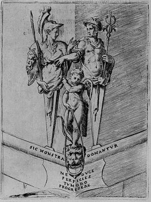 Hermathena - Hermathena emblem from Symbolicarum quaestionum by Achille Bocchi (1574)