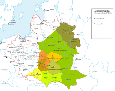 Administrative divisions of the Ruthenian Uniate (Greek-Catholic) Church in 1772 (before partition of Poland) Administrative divisions of the Greek Catholic Church in Polish-Lithuanian Commonwealth in 1772.PNG