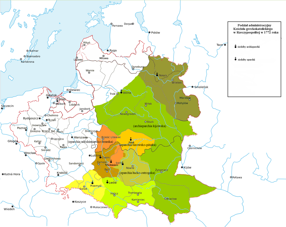 Administrative divisions of the Greek Catholic Church in Polish-Lithuanian Commonwealth in 1772