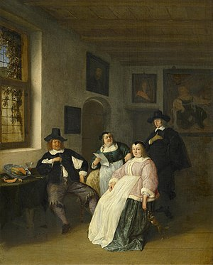 Catharina Questiers - Catharina Questiers reading a poem (with paper in hand), by Adriaen van Ostade