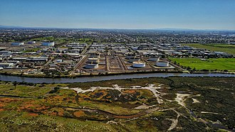 Altona, Victoria - Aerial perspective of the Mobil refinery and its surrounds in Altona. 2018