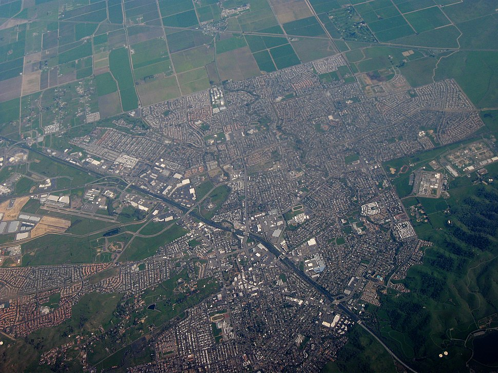 Aerial view of Vacaville, California