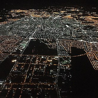 Aguascalientes City - Aguascalientes City seen from a flight at night