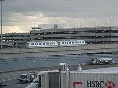 An AirTrain vehicle as seen from Terminal 4