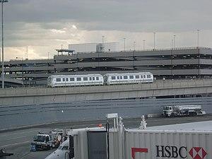 AirTrain JFK - Two-car AirTrain seen from Terminal 4