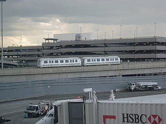 AirTrain JFK - Two-car AirTrain seen from Terminal 4
