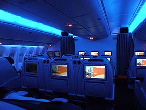 Air India Boeing 777 business class blue mood lighting.JPG