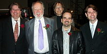 Image of several composers including Malcolm Forsyth during a performance of their music in April 2005
