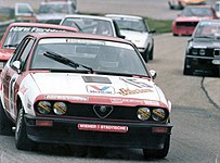 Alfa Romeo GTV6 at Hockenheimring, during the 1984 DTM series.