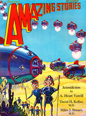 "John W. Campbell - Campbell's first published story, ""When the Atoms Failed"", was cover-featured in the January 1930 issue of Amazing Stories"