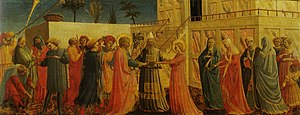 Coronation of the Virgin (Fra Angelico, Uffizi) - Detail of the predella with the Marriage of the Virgin.