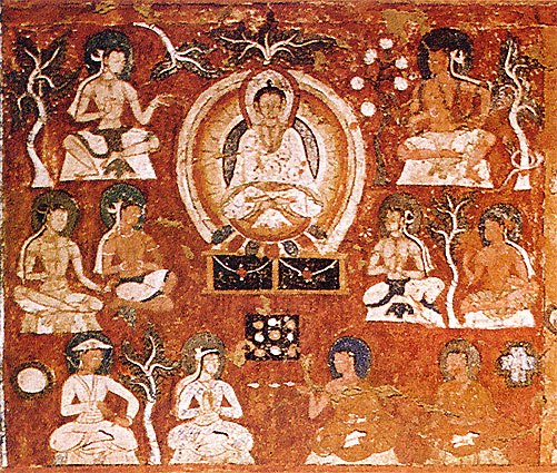Amitâbha in His Western Paradise with Indians, Tibetians and Central Asians, Symbols - Sun and Cross