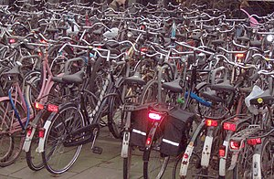 Transport in Amsterdam - Many bikes parked in Amsterdam