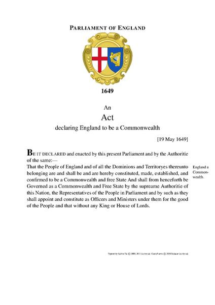 فایل:An Act Declaring and Constituting the People of England to be a Commonwealth and Free-State (1649).pdf