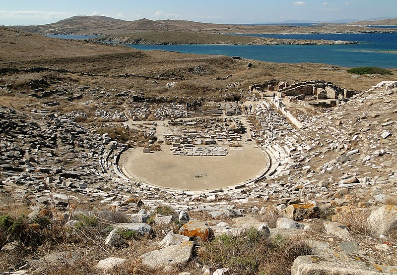 File:Ancient Greek theatre in Delos 01.jpg