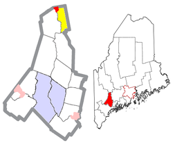 Location of Livermore Falls (in yellow) in Androscoggin County and the state of Maine
