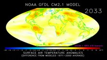 Файл:Animation of projected annual mean surface air temperature from 1970-2100, based on SRES emissions scenario A1B (NOAA GFDL CM2.1 climate model).ogv