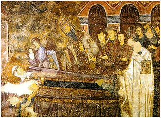 Anna Dandolo - Wall painting at Sopoćani monastery depicting Anna Dandolo on her deathbed surrounded by her family and members of the clergy