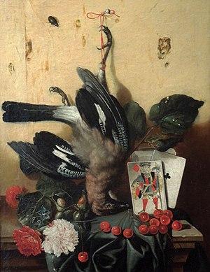 Jan Antonín Vocásek - Still Life with Jaybird, Cards, Carnations and Cherries