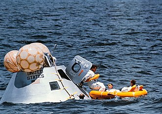 Apollo 7 - Image: Apollo 7 crew during water egress training
