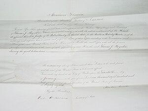 Thomas Jefferson Boynton - Appointment of Judge Boynton signed by Seward and Lincoln