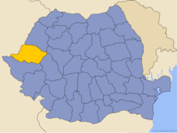 Administrative map of Romania with Arad county highlighted