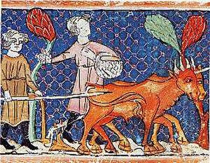 Plough - 13th century depiction of a ploughing peasant, Royal Library of Spain