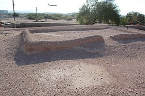 Pueblo Grande Ruin and Irrigation Sites - Ruins of a building at Pueblo Grande archaeological site.