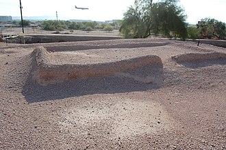 Pueblo Grande Ruin and Irrigation Sites - Ruins of a building at Pueblo Grande archaeological site.