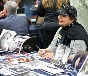 Arlene Martel - Arlene Martel, with photos of her various roles, at 2011 Star Trek convention