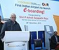 Ashok Gajapathi Raju Pusapati addressing at the inauguration of the E-boarding facility at Rajiv Gandhi International Airport, in Hyderabad. The CEO, GMR Hyderabad International Airport Ltd.jpg