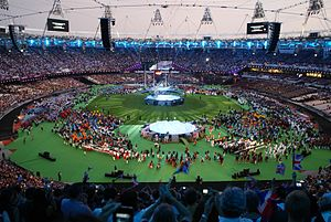 2012 Summer Paralympics closing ceremony - Athletes gather inside Olympic Stadium prior to the start of the closing ceremony