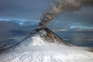 Volcanic gas - Volcanic gases entering the atmosphere with dust and tephra during eruption of Augustine Volcano, 2006.