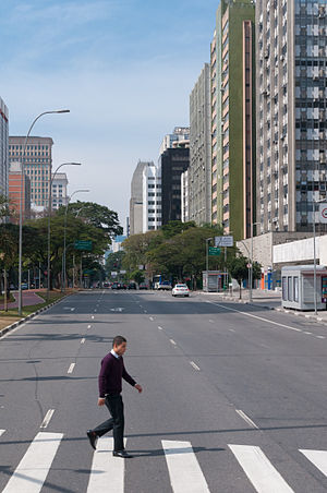 Brigadeiro Faria Lima Avenue - The boulevard with large buildings in the background.