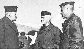 DeWitt Peck - Brigadier general Merritt A. Edson, Commanding General Service Command Fleet Marine Force Pacific, Major general DeWitt Peck (CG 1st Marine Division), Louis E. Woods (CG 1st Marine Aircraft Wing), Tientsin, September 1945.