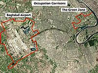 Satellite image of Baghdad with the airport and Green Zone outlined.
