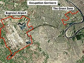 Baghdad International Airport and the Green Zone.