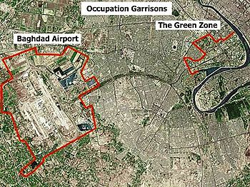 aerial view and map of the green zone in baghdad