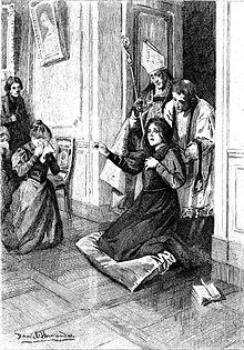 Femme à genoux dans un salon, encadrée par deux prêtres alors qu'une autre femme, sur le côté, a le visage caché dans un mouchoir.