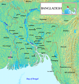 A Map showing major rivers in Bangladesh including Padma.