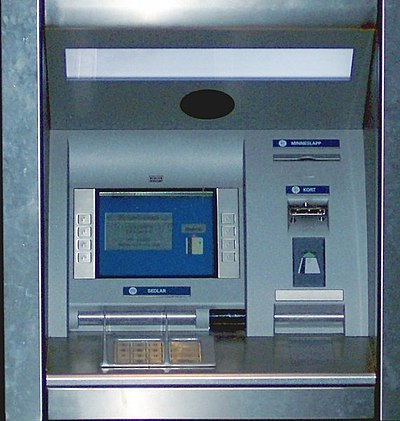 ATM machine with menu drive interface.