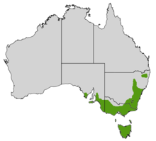 a map of Australia with a green area across the a broad swathe of the southeastern corner of the continent plus Tasmania and Bass Strait Islands